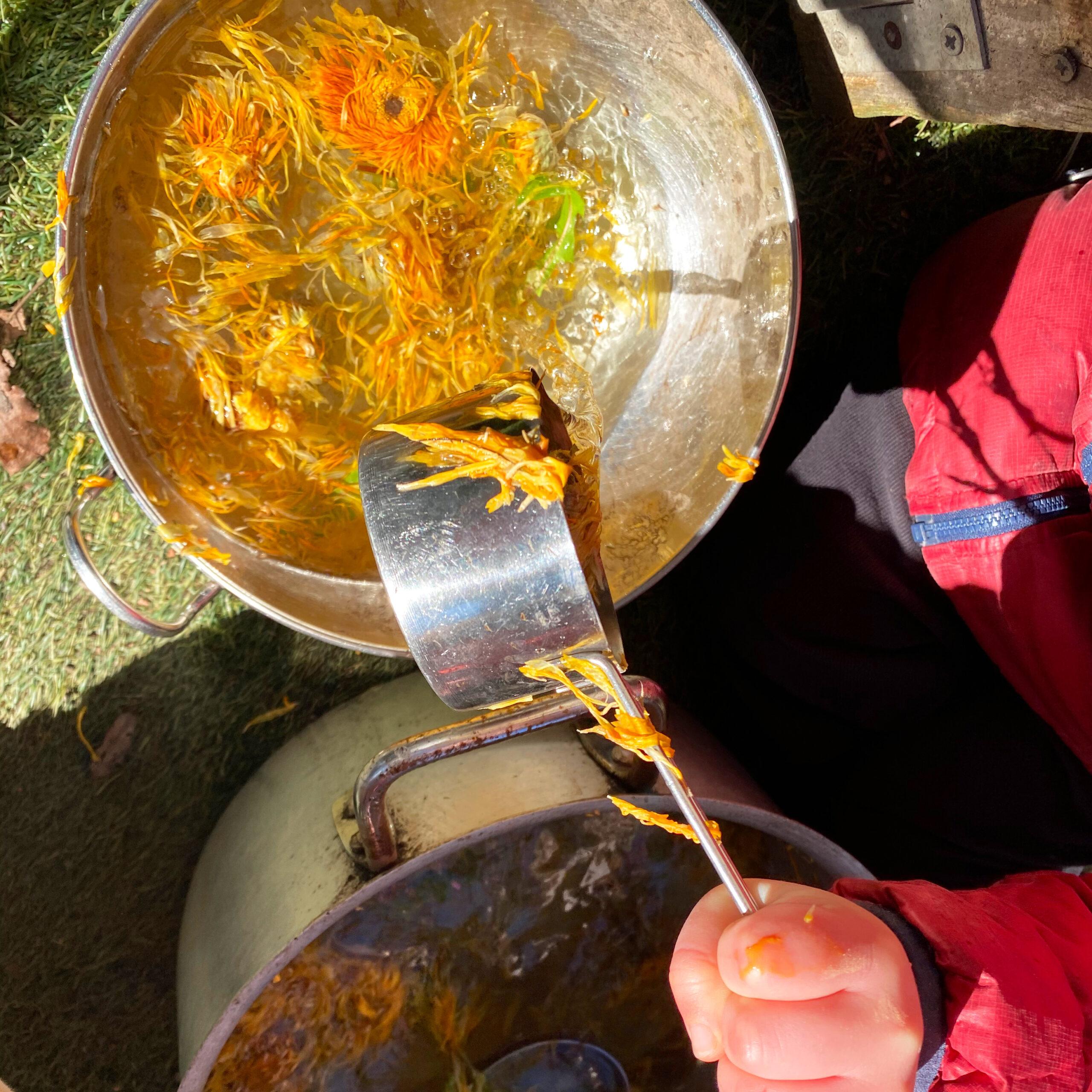 sensorial dandelion soup making